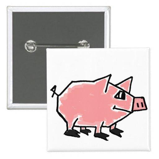CD- Funky Pig cartoon Button
