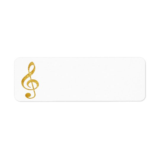 CD gold foil look clef music Return Address Label
