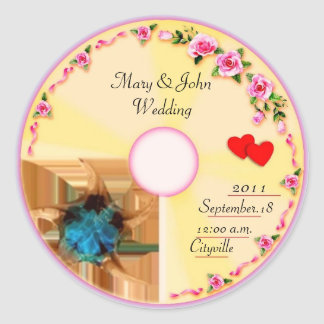 CD Label Wedding Favor Tag Round Sticker