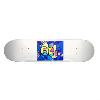 CD record image against blue stained glass back Skate Board Deck