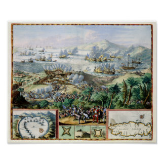 Cdr Binckes engages French Fleet at Tobago 1676 Poster