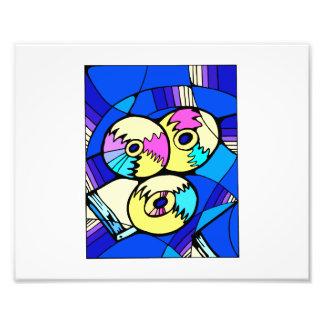 Cd's on blue background photo print