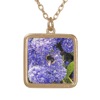 Ceanothus Flower Bee Photograph Gold Plated Necklace