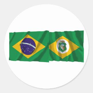 Ceará & Brazil Waving Flags Classic Round Sticker