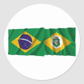 Ceará & Brazil Waving Flags Round Sticker