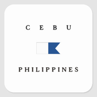 Cebu Philippines Alpha Dive Flag Square Sticker