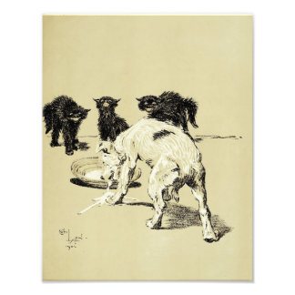 "Cecil Aldin 1902 ""Dog Drinking Kittens Milk"" Print Photo Art"