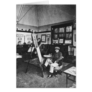 Cecil Aldin in his studio Card