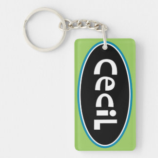 Cecil Personalized Double-Sided Rectangular Acrylic Key Ring