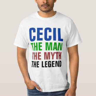 Cecil the man, the myth, the legend tee shirts
