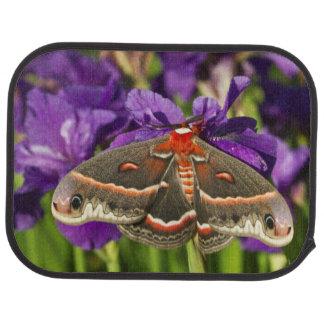 Cecropia Moth in flower garden Car Mat