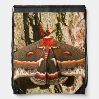 Cecropia Moth on tree trunk Drawstring Bag