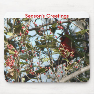 Cedar Cardinal Red Berries-Season s Greetings Mouse Mat