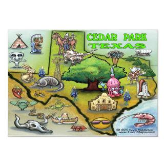 Cedar Park TEXAS Map Card 13 Cm X 18 Cm Invitation Card