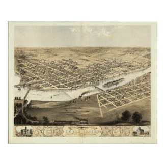 Cedar Rapids Iowa 1868 Antique Panoramic Map Poster