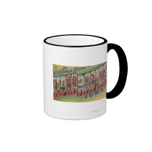 Cedar Rapids, Iowa - Large Letter Scenes Coffee Mug