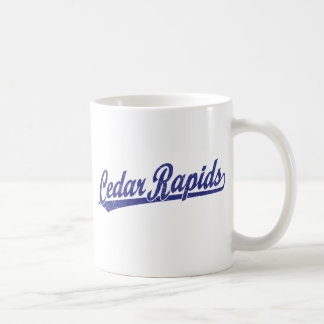 Cedar Rapids script logo in blue Basic White Mug