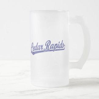 Cedar Rapids script logo in blue Frosted Glass Mug