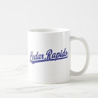 Cedar Rapids script logo in blue Classic White Coffee Mug