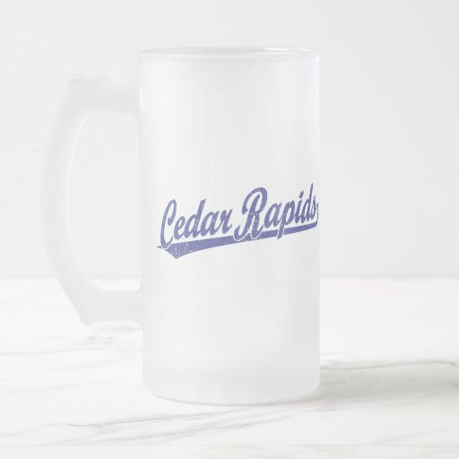 Cedar Rapids script logo in blue Coffee Mug