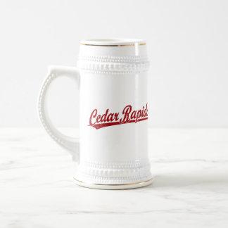 Cedar Rapids script logo in red Beer Steins