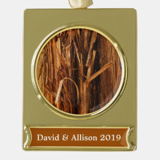 Cedar Textured Wooden Bark Look Gold Plated Banner Ornament