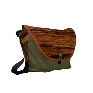 Cedar Textured Wooden Bark Look Messenger Bag