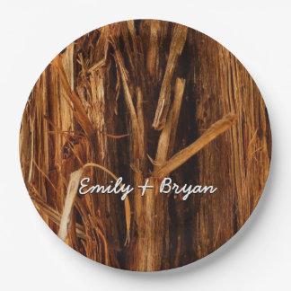 Cedar Textured Wooden Bark Look Paper Plate