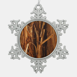 Cedar Textured Wooden Bark Look Pewter Snowflake Decoration