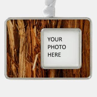 Cedar Textured Wooden Bark Look Silver Plated Framed Ornament
