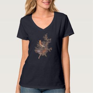 Cedar Waxwing Audubon Birds Pair on Evergreen T-Shirt