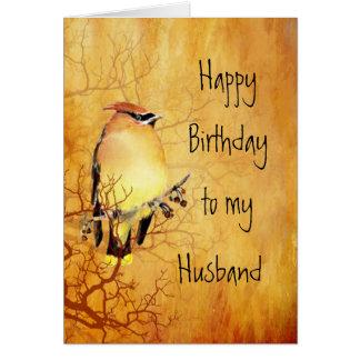 Cedar Waxwing Bird Best Husband Birthday Greeting Card