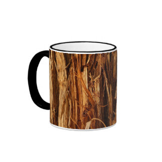 Cedar Wood Textured Bark Look Ringer Mug