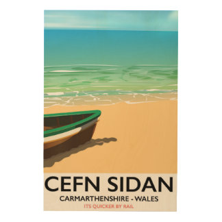 Cefn Sidan, Carmarthenshire wales vintage railways Wood Wall Decor