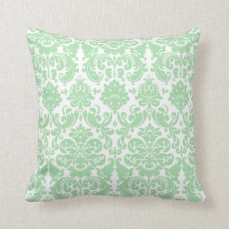 Celadon and White Elegant Damask Pattern Cushion