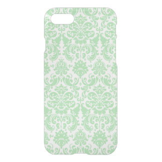 Celadon and White Elegant Damask Pattern iPhone 7 Case