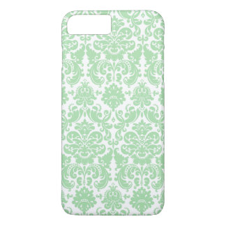Celadon and White Elegant Damask Pattern iPhone 7 Plus Case