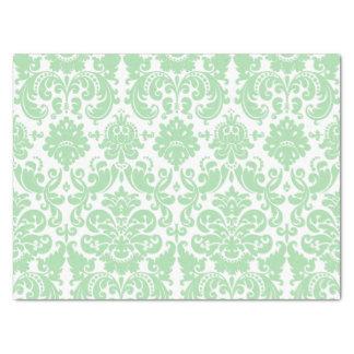 Celadon and White Elegant Damask Pattern Tissue Paper