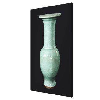 Celadon glazed vase, Yuan Dynasty Canvas Print