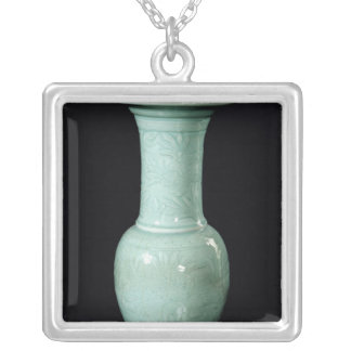 Celadon glazed vase, Yuan Dynasty Silver Plated Necklace