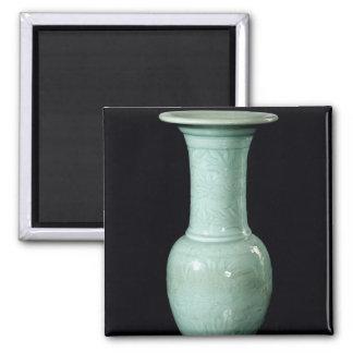 Celadon glazed vase, Yuan Dynasty Square Magnet