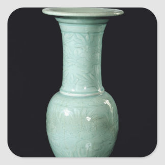 Celadon glazed vase, Yuan Dynasty Square Sticker
