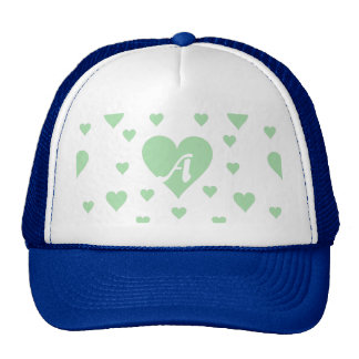 Celadon Green and White Hearts Monogram Trucker Hat
