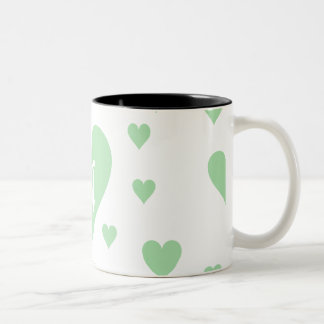 Celadon Green and White Hearts Monogram Coffee Mugs