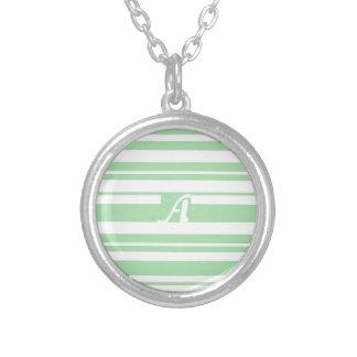 Celadon Green and White Random Stripes Monogram Custom Necklace