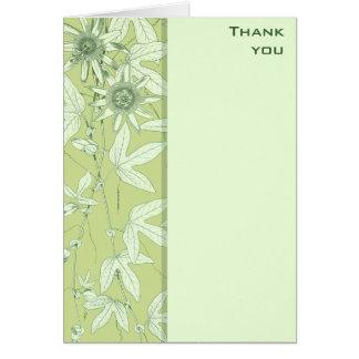 Celadon Green Botanical Floral Thank You Note Card