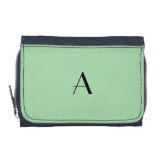 Celadon Green Color Denim Wallet w/Black Monogram