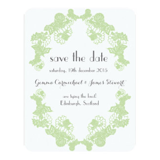 Celadon Green Lace Trim Save The Date 11 Cm X 14 Cm Invitation Card