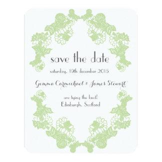Celadon Green Lace Trim Save The Date 11 Cm X 14 Cm Invitation Card