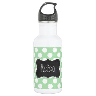Celadon Green Polka Dots; Chalkboard look 532 Ml Water Bottle